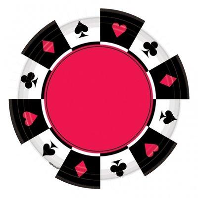 Casino partytallrikar i papper - 26 cm - 8 st