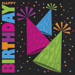 Servetter - Happy birthday neon 16 st