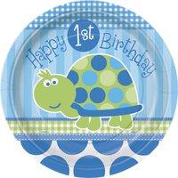 Papperstallrikar - Sköldpadda 1-års födelsedag 8 st
