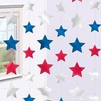 Hängande dekoration Med röda, silver och blå stjärnor - 2.1m - 6 st