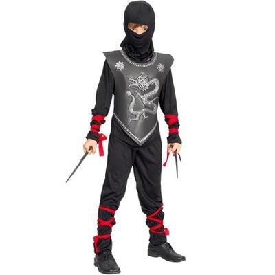 Ninja - maskeraddräkt barn, svart med röda band