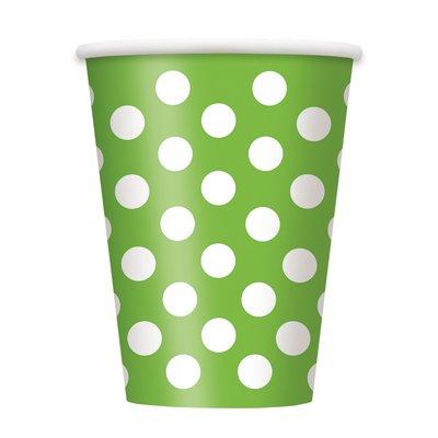 Gröna prickiga pappersmuggar - 340 ml - 6 st