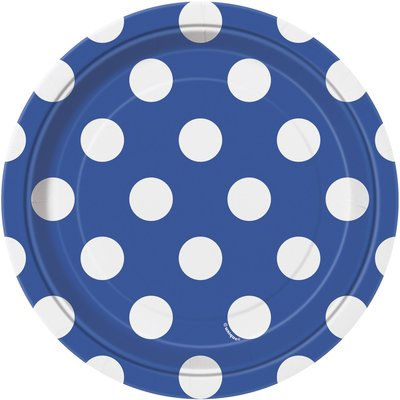 Blå prickiga desserttallrikar i papper - 17cm - 8 st