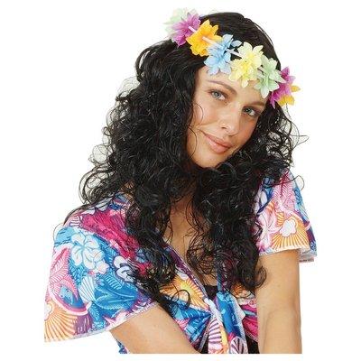 Svart lockig peruk med hawaikrans