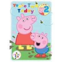 Greta gris 2-års födelsedagskort