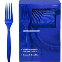 Mörkblå plastgafflar - 100 st