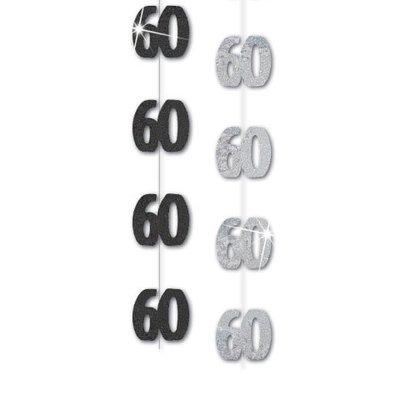 Svart och vit hängande festdekoration till 60-årsdagen 1,5 m - 6 st