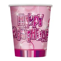 Pappersmuggar - Happy birthday glitz rosa - 27 cl 8 st