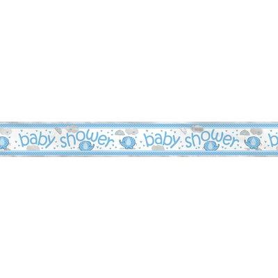 """Foliebanderoll \\\""""Baby Shower\\\"""" ljusblå elefanter - 3,7 m"""