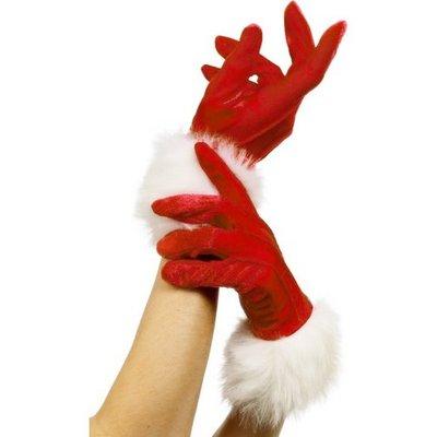 Handskar tomte röd med päls