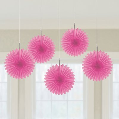 Rosa Hängande solfjäder dekorationer - 15.2cm - 5 st