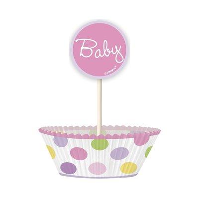 Cupcakekit - Baby flicka stork 24 st
