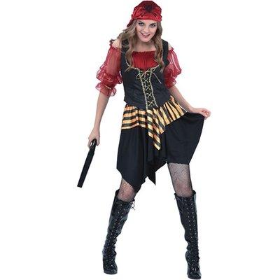 Piratkvinna röd maskeraddräkt
