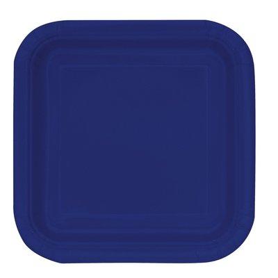 Mörkblå fyrkantiga tallrikar 23 cm 14 st