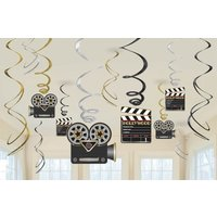 Hollywood dekoration hängande virvlar - 60cm - 12 st