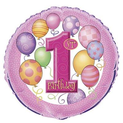 Rosa folieballong för 1-årsdagen - 46 cm