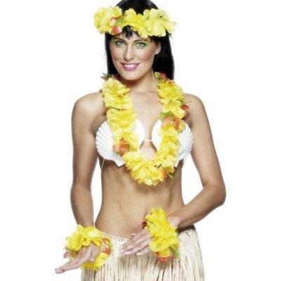 Hawaii-girlang set - gul
