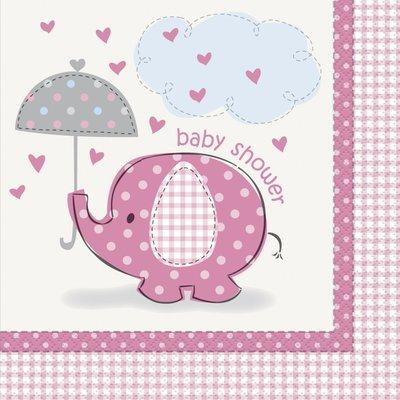 Servetter - Baby shower rosa 16 st