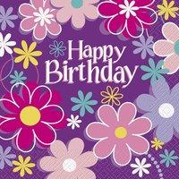 Happy birthday blommor - Servetter 16 st