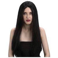 Peruk med långt svart hår