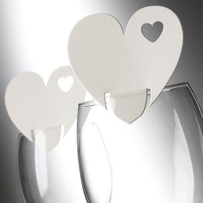 Elfenbensvitt hjärta - placeringskort till glas - 10 st