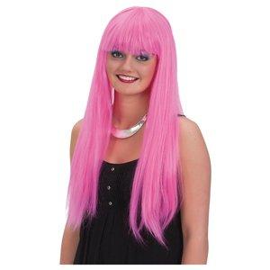 Midjelång rosa peruk