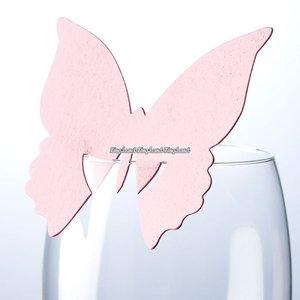 Fjärils- placeringskort till glas - ljusrosa - 10 st