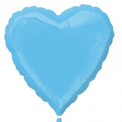 Ljusblå hjärtformad folieballong 46 cm