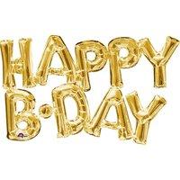 Folieballong - Happy B-Day Guld