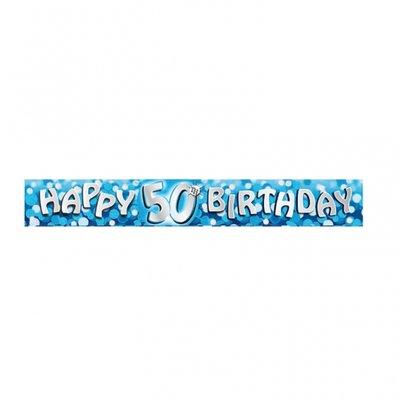 Födelsedagsbanderoll blå för 50-årsdagen - 2,7m