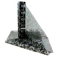 Organza rulle med virvlar - svart och silver