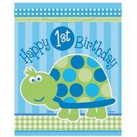Sköldpadda 1-års födelsedag - Kalaspåsar i plast