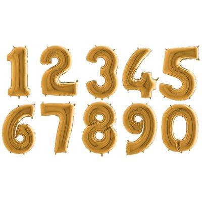 Ballongsiffror - Guld 100 cm
