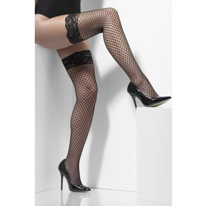 Lattice Hold-Ups Black Lace Tops with Silicone