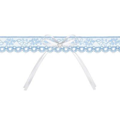 Bröllopsstrumpeband - Blå med vit rosett