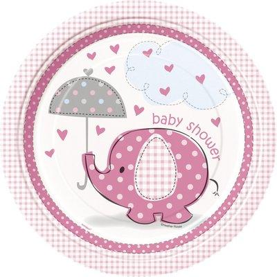 Tallrikar - Baby shower rosa - 23 cm 8 st