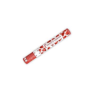 Konfettikanon med röda hjärtan - 40 cm