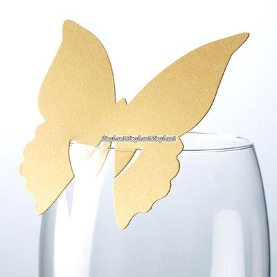 Guldfärgade fjärilar för glas - 10 st