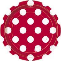 Röda prickiga desserttallrikar i papper - 17cm - 8 st