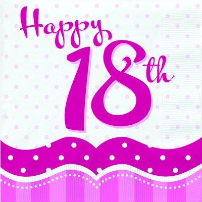 Servetter för 18-årsdagen rosa 2-lags - 18 st
