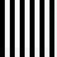 Randiga servetter - Svarta & vita 16 st
