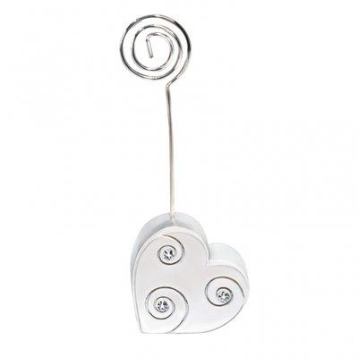 Placeringskortshållare silverhjärta
