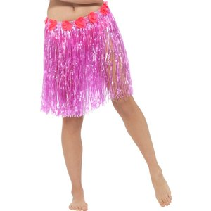 Hawaiian Hula Skirt with Flowers Neon Pink with Velcro Fastening & Adjustable Waist Band