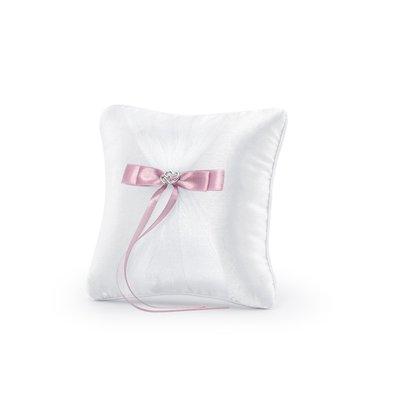 Kudde för vigselringar - Vit med rosa band 20 cm