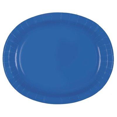 Blå ovala papperstallrikar - 30 cm 8 st