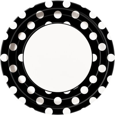 Svarta prickiga papperstallrikar - 23 cm - 8 st
