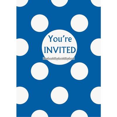 Blå prickiga inbjudningskort - 8 st