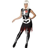 Självlysande skelett maskeraddräkt
