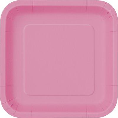 Rosa fyrkantiga tallrikar - 23 cm 14 st