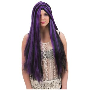 Lång svart/lila peruk